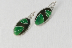5 Enamelled leaf earrings