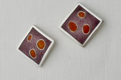4 Square enamel earrings