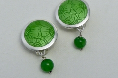 3 Enamelled green jade earrings.